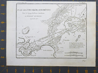 Ancient Athens Greece Antique Engraved Map 1785 Large 8x10 Inches