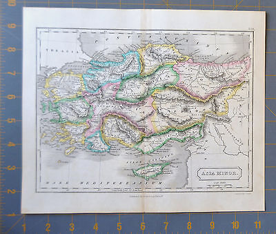 Ancient Asia Minor 1834 Hand Painted Map 11x9