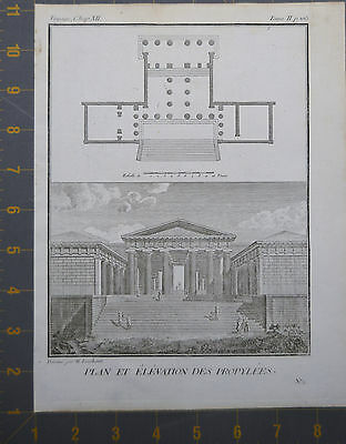 Plan And Rise Of Propylaea Ancient Greek Engraving Late 1700's 8x10 Inches