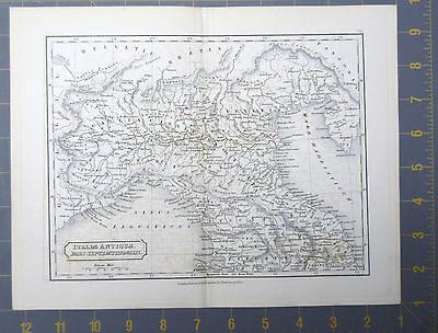 Ancient Roman Northern Italy Map Printed 1830 11x9 Inches Copper Plate