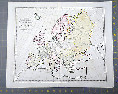 Europe Antique Engraved Abbe Gaultier Map Printed 1797 18x15 Inches