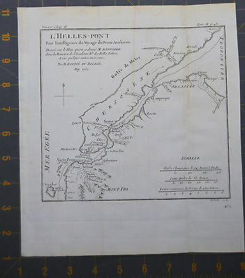 The Hellespont Ancient Greece Antique Engraved Map 1782 9x10 Inches