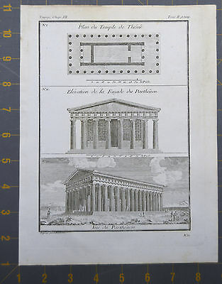 Parthenon Ancient Greek Engraving Late 1700's 8x10 Inches