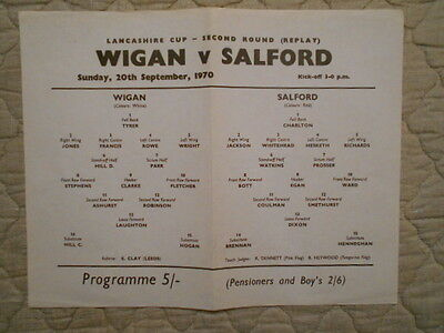 Wigan V Salford Lancashire Cup 2Nd Round Replay Admission Programme 1970