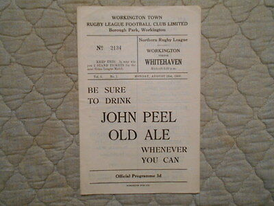 Workington V Whitehaven Rugby League Match Programme August 1950