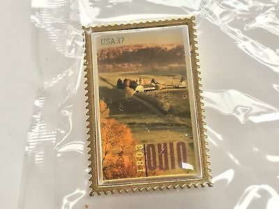 1803-2003 Ohio Bicentennial State Stamp Pin - New in Plastic