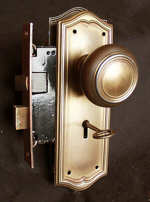 3avail Cleaned Antique Brass Steel Interior Door Lockset Set Knob Plate Lock Key