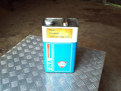 vintage fina oil can with lid empty