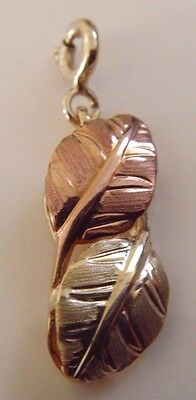 Vintage Yellow & Rose Gold Double Feather  Charm