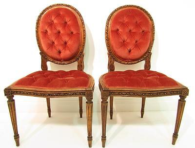 Elegant Antique Style Solid Walnut  Pair Of Bedroom Chairs