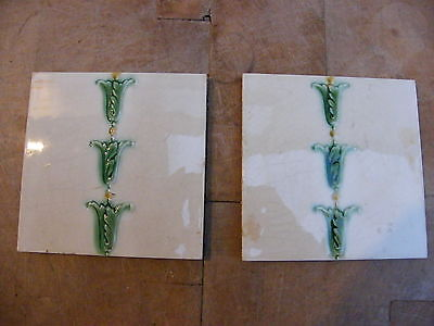 """A FINE PAIR OF VICTORIAN RECLAIMED ANTIQUE TILES 6"""" x 6"""""""