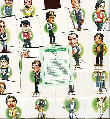 """Victoria Gallery 1988 Full Set Of 20 """"snooker Celebrities"""" Trade Cards"""