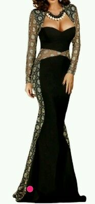 Elegant Black Lace Cut Out Mermaid Prom/evening Dress Size  8-10