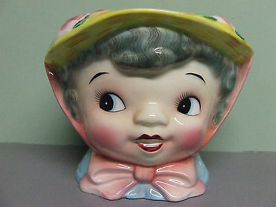 Rare Vintage Lefton's Miss Dainty with Grey Hair and Roses Cookie Jar/No Lid