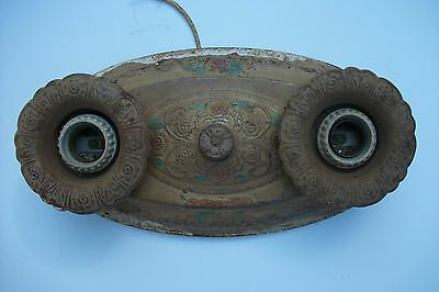 Vintage tin 1920's 1930's dual Tin Light Fixture