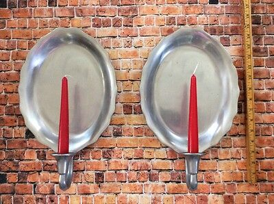 Vintage Pair Pewter Wall Sconces Candle Holders Pewtarex York Pa
