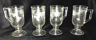 4 Nestle Nescafé Etched Glass World Globe Footed Irish Coffee Mugs Cups