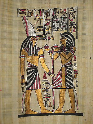 Antique EGYPTIAN  PAPYRUS Handmade Colorful Piece Horus