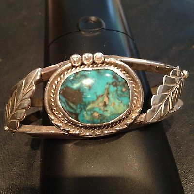 Solid Silver Native American Bracelet With Turquoise Stone