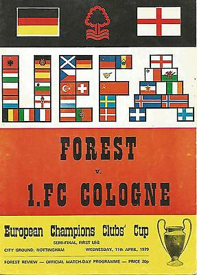 Football Programme - Nottingham Forest v Cologne - European Cup SEMI-FINAL  1979