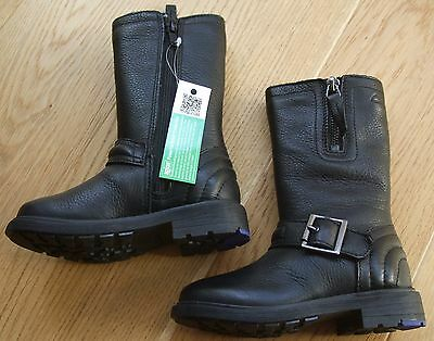 Girls Clarks Black Leather Boots Size 7 G Infant Brand New