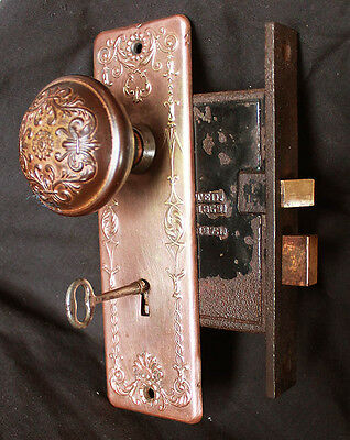 Antique Vintage Neo Classical Door Set Copper Steel Knob Plate Lock Lockset Key