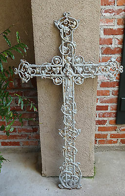 TALL Antique French Cast Iron Cross Crucifix ~Chapel Garden WALL -Architectural