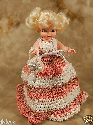 old fashioned DOLL BODY CROCHETED GOWN TOILET PAPER COVER blonde coral off-white
