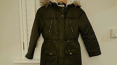 girls age 8-9 years khaki green parka with fur hood