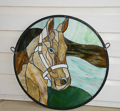 "20""Dia Round Horse Head Tiffany Style Stained Glass Suncatcher Panel, SOLD AS IS"