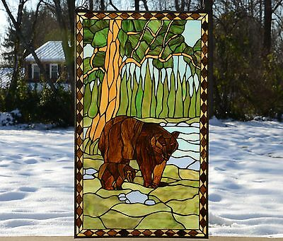 """20"""" x 34"""" Bear Mother and Son Tiffany Style stained glass window panel"""