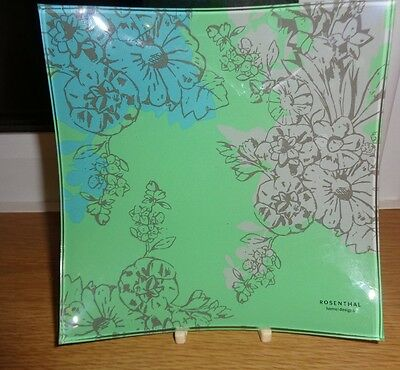 Rosenthal Home Design Square Green And Blue  Flower Pattern Glass Dish