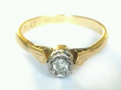 Vintage 18ct Platinum Diamond Solitaire Ring. Size J 1/2