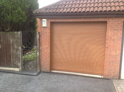 Garage Door Electric  Roller 7Ft X 7Ft New  Insulated With 2 Remotes  Oak