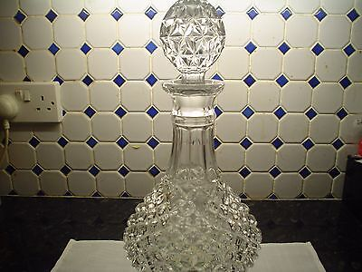 """Vintage heavy lead crystal hand cut hobnail Glass Decanter  12"""" tall"""
