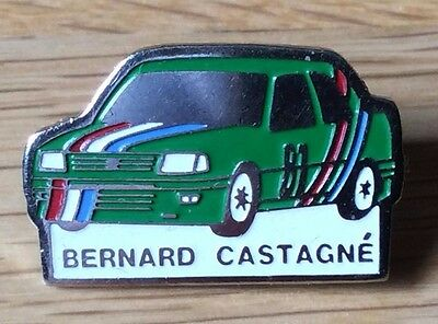 pin's pins PEUGEOT   RALLYES COURSES  EQUIPAGE  BERNARD CASTAGNE