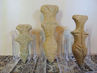 Tris of Antique Stone Figures statuettes,mother godess,fertility aliens,idols