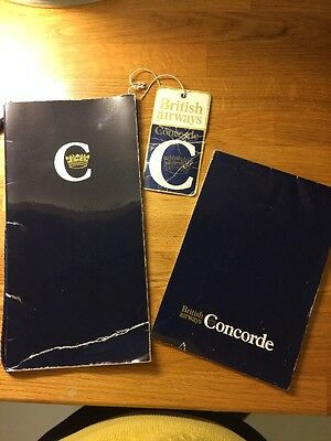 Concorde Menu And Flight Certificate With Luggage Label and Notebook