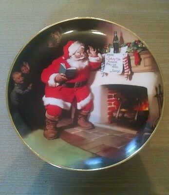 1993 Franklin Mint Coca Cola Santa Claus The Pause That Refreshes Plate