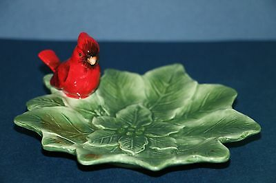 J. Willfred Christmas Red Cardinal Bird Collector Gift Nut Dish