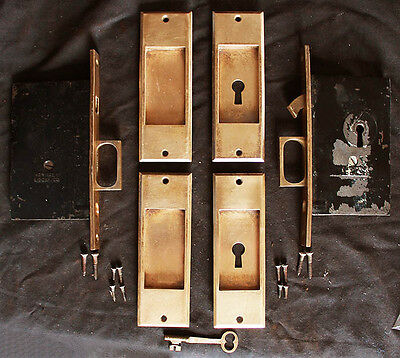 Antique Vintage Cast Brass Pocket Sliding Door Lockset Set Pull Handle Plate Key