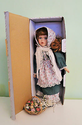 Vintage Porcelain Alberon Doll With Flowers and Original Box