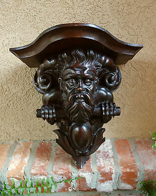 Antique French Carved Wood SHELF CORBEL Renaissance North Wind Aeolus Gothic