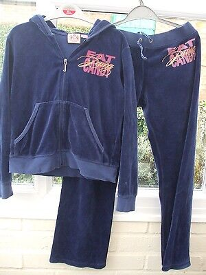 Juicy Couture Dark Blue Velour Tracksuit Size 10-11 Years