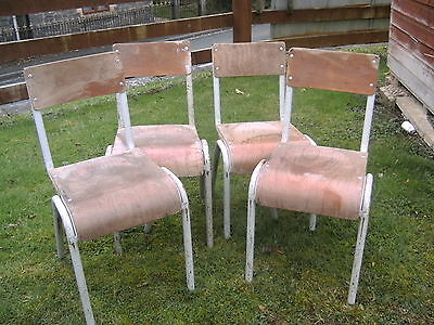 4 VINTAGE SCHOOL CHAIRS --STACKABLE--70cm HIGH
