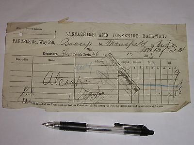 Bacup Station, Lancashire & Yorkshire Railway:  Parcels Way Bill, from 1883.