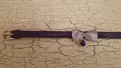 hand crafted purple kitten collar with lilac bow
