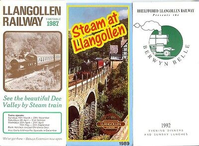 Llangollen Railway Welsh Deeside 5 timetables 1987 Berwyn Belle Station -2003