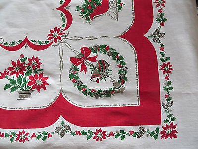 "VNTG CHRISTMAS TABLECLOTH 50""x63"" Fireplace Door Knocker Pointsettia Pine Cones"