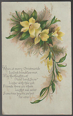 Antique Victorian Xmas Card From Little Nelly To Auntie Polly Christmas 1892